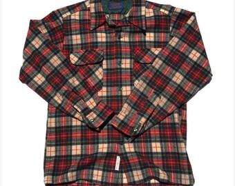Vintage Red & Green Medium Pendleton Flannel Shirt 1970s