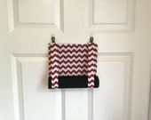 ROMAN SHADE/CURTAIN for Teacher Classroom Door - Privacy/Safety/Lockdown - Maroon Chevron with Black