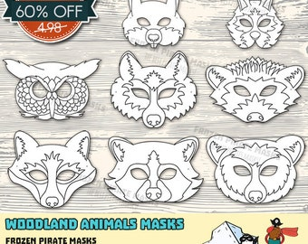 60% OFF SALE Woodland Forest Animals Printable Coloring Masks, Wolf, Fox, Bunny, Bear, Owl, Squirrel, Raccoon, Hedgehod, Masquerade