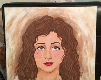 Brunette (14x14) Acrylic Painting of Woman