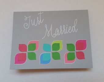 "Handmade ""just married"" card"