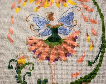 Completed Cross Stitch embroidery, Finished Cross Stitch of Sunflower Fairy