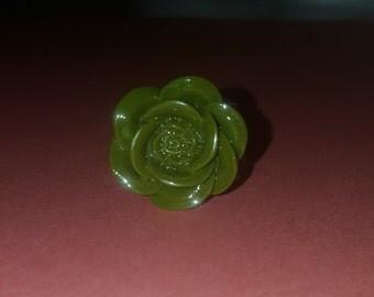 Green flower adjustable ring