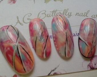 Kit nail nail art, watercolor, long oval