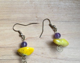 Purple and Yellow Stone Earrings
