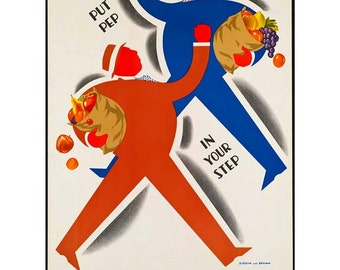Eat More Fruit Poster - Kitchen Art - Vintage Print Art - Home Decor