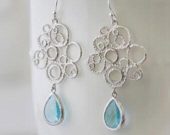 Aquamarine Blue Glass and Silver Bubble Earrings. Beach Wedding. Bridal Earrings. Bridesmaid Earrings. Wedding Earrings