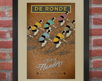 Tour of Flanders Cycling Poster - Retro Style Cycling Artwork