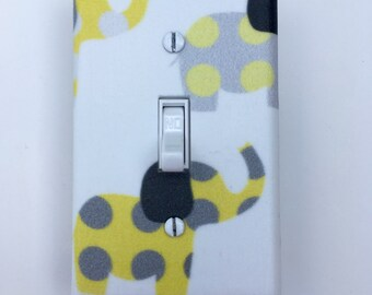 Yellow and Gray Elephant Light Switch Plate - Elephants Light Switch Cover-White  Nursery-Boy room-Girl Elephant Room-Polka Dot Outlet Cover