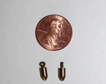 40 Vintage raw brass bullet charms -vintage jewelry lot supply