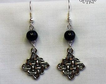 Celtic, beaded dangle earrings in antique silver finish (Code ESP016)