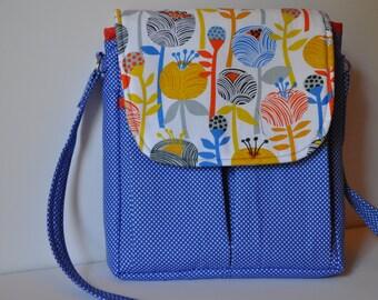 Messenger Bag, royal blue, floral, orange, purse