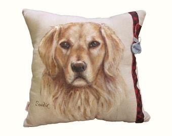 "CUSTOM PET PORTRAIT Pillow,  16"" x 16"", Hand Painted With Pillow Insert"
