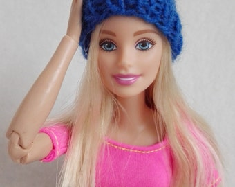 Blue Barbie hat, knitted beanie, colorful doll hat