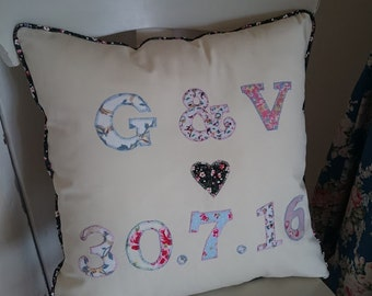 Personalised Shabby-Chic Style Special Occasion or Wedding Cushion