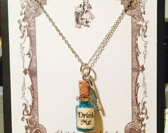 Drink Me - Alice in Wonderland - .5ml Glass Bottle Necklace with key charm