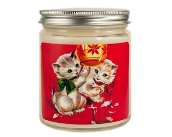 Christmas Kittens Candle, Holiday Candle, Scented Candle, Vintage Candle, Container Candle, Soy Candle, Christmas Candle, Cat Candle