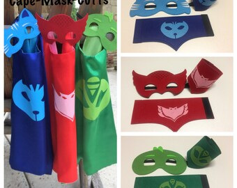 Set of 3 PJ Masks Costumes/Cape - superhero double-sided cape or cape/mask. Party favors, costume or cosplay.