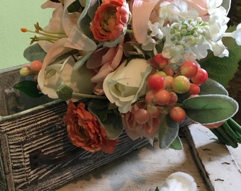 Coral, Peach and Cream Silk Bouquet and Boutonniere Package