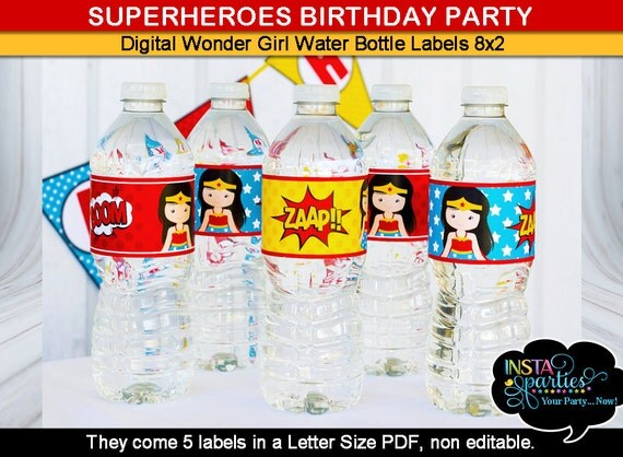 Wonder Woman Water Bottle Labels Wraps Wrappers Sleeves