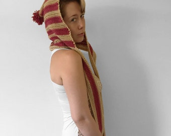 Square-back HoodScarf with Stripes