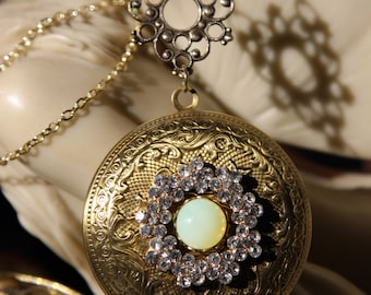 Moonstone and Rhinestone Locket
