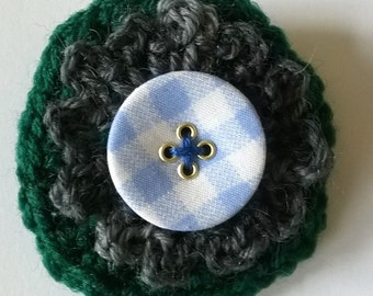 Green Crochet Brooch - Crochet Pin - Crochet Flower Brooch - Flower Brooch - Crochet Brooch - Green Brooch - Yarn Brooch - Fabric Brooch