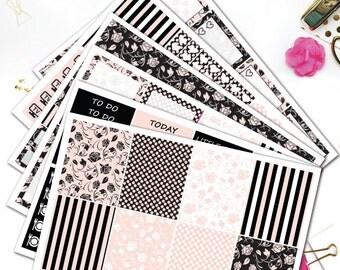 BLACK ROSE Planner Stickers/Planner Stickers for Erin Condren Lifeplanner/Floral sticker set/Weekly sticker/Pink Black Sticker