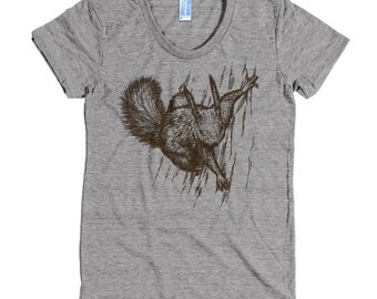 Funny Squirrel T Shirt - Squirrel Tee - Animal T Shirt - Nutty Squirrel Tee - Women's American Apparel T Shirt - Item 1018 - Brown Ink