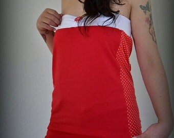 Top, white shirt T-Shirt dots dots dotted red red