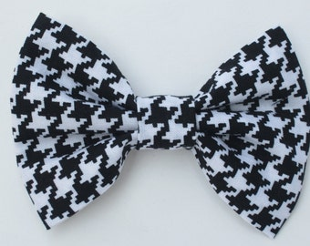 Black and White Hounds tooth Bow Tie-  Medium