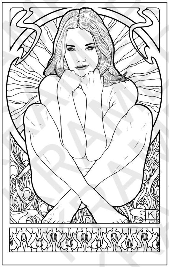 sexy nude woman sitting cross legged single erotic adult coloring page - Nude Coloring Book