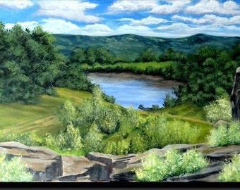 """Acrylic painting, country landscape, with trees and bushes, Blue Lake, rocks """"from the top of the 3 rocks"""""""