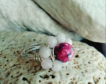 Pink Quartz floral ring