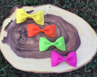 Neon Piper Bow / kids hair bow / clip on bow