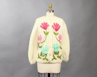 50s cardigan with large pom pom flowers . 1950s cream wool mohair cardigan with pink and turquoise flowers, hand embroidered, made in Italy
