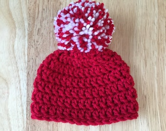 Red Pom Pom Hat, Free Shipping,  0-3 Month,  baby  beanie, Baby Boy or Girl, Baby gift or photo prop, Crochet  beanie, infant hat,