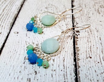 Amazonite & Quartz Chandelier Earrings,  Amazonite Chandelier Earrings, Blue Sky Quartz Earrings, Gemstone Earrings, Gift For Her, Zen
