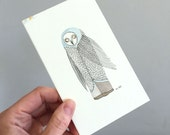 Original Owl Art - No. 62 - Watercolor and Ink Illustration owl in subtle paster colors green blues - affordable art - OOAK