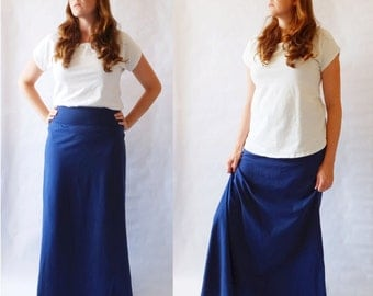 Navy Maxi Skirt womens Long skirt Cotton Jersey floor length Aline maxi skirt ankle length yoga waistband maternity skirt Made to Order