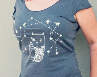 Gift for Women - Grey Owl Shirt - Gift for Her Yoga Shirt - Owl Clothing - Womens Gift