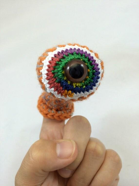 Monster Puppet Eyeball - Finger Puppet in Orange (Large)