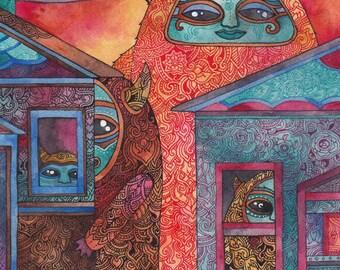 Suburban Monsters Original Watercolor by Megan Noel