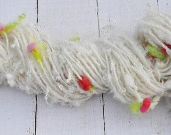 Handspun Curly Yarn - Pretty Lock Spun - Rosebuds - 70 Yards