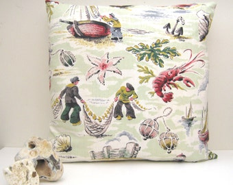Nautical Vintage 1950's Cushion Cover - Fishermen, Nets, Sailing Boats, Sea Creatures