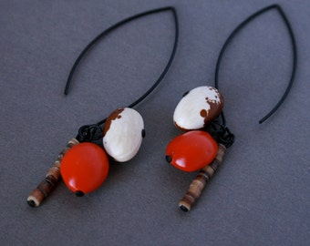 ethnic earrings with natural seeds and beans - long dangle earrings - exotic