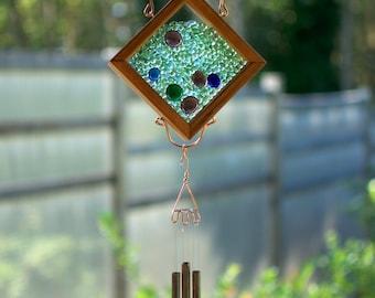 Wind Chime Glass Copper Cedar Suncatcher Windchime
