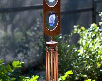 Cobalt Blue Glass Wind Chime Cedar Copper Large Outdoor