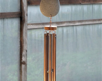 Wind Chimes Natural Driftwood Beach Stone, Large Copper Chimes windchime wind chime