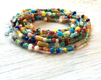 Long seed bead necklace or multi wrap bracelet, turquoise and multi colors